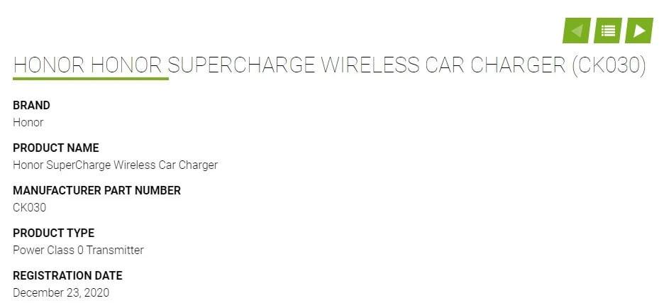 Honor kablosuz araç şarj cihazı sertifika