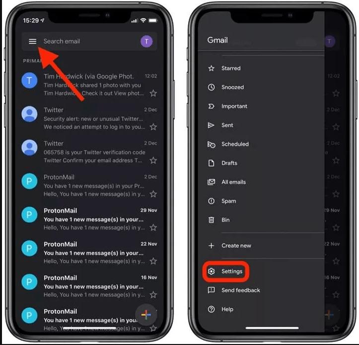 Gmail karanlık mod