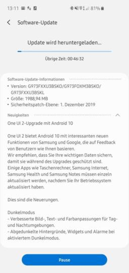 Samsung Galaxy S10, S10+ ve S10e Android 10 Güncellemesi