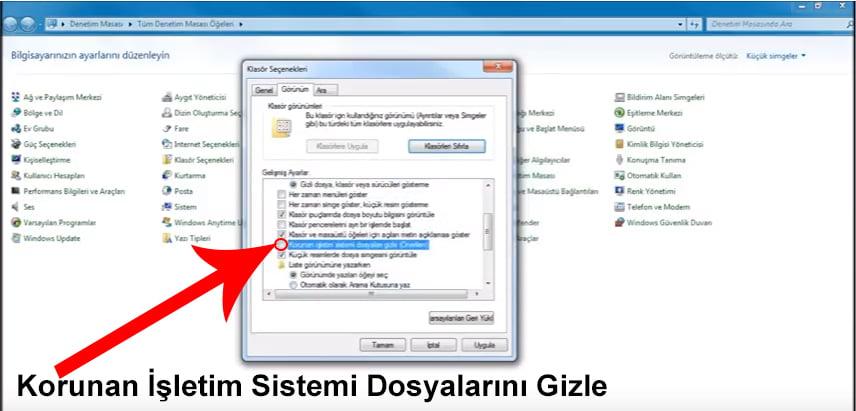 Windows 7 Korunan Sistem Dosyaları Gizleme